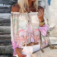 المرأة مثير الدانتيل متابعة الشرابة قبالة الكتف بلوزة قميص 2020 الخريف أنيقة الأزهار طباعة مضيئة طويلة الأكمام قمم السيدات شيك البلوزات