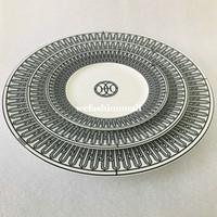 Vajilla de cerámica de alta gama Línea negra placas de placas de hueso China Vajilla Platos de porcelana de 6 pulgadas 8 pulgadas placa plana taza y platillo moda casa
