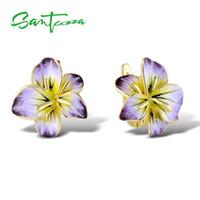 SANTUZZA 실버 귀걸이의 경우 여성 순수 925 스털링 실버 골드 컬러 화려한 개화 꽃 귀걸이의 보석 수제 에나멜 200921