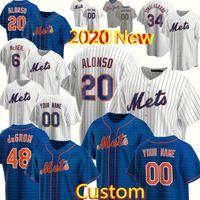 2020 Nuevo Custom 48 Jacob Degrom 20 Pete Alonso Jersey Men's 6 Jeff McNeil 7 Marcus Stroman 34 Noah Syndergaard Strawberry Baseball Jerseys