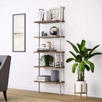 WACO 5-tier الصناعية سلم الجرف، أثاث المنزل الخشب المعادن ضد الجدار، عرض تخزين الرف نبات زهرة حامل فائدة المنظم رف الكتب - الجوز