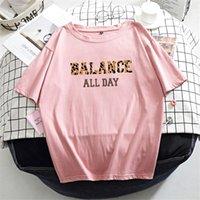 Hirsionsan 100% Pamuk 7 Renkler Yaz Kadın T Gömlek Kısa Kollu Leopar Mektup Baskı Kadın Yumuşak Üst Jumper Streetwear M-XXXL 200925
