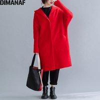 DIMANAF inverno Donne Coat WoolBlends Spesso Plus Size Ufficio signora Outerwear incappucciato allentato pipistrello manica cardigan femminile Abbigliamento