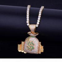 Moedas Bolsa de Dinheiro Pilha Iced dinheiro colar de pingente com corrente de tênis Charme Gold Silver Cubic Jóias Hip Hop de Homens Zircon Para Presente