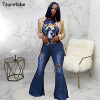 Цуретобе осень плюс размер вспышки брюки женские разорванные джинсы мода высокая талия широкие брюки ног повседневные колокол джинсы брюки CX200821