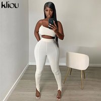 Kliou mulheres um treino ombro duas peças set top de fitness sem mangas barra colheita pescoço calças elásticas altura streetwear roupa X0923