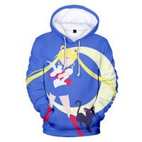 Rholycrown Горячие аниме Hoodies Женщины Мужчины зимние свитера с капюшоном Крупногабаритные фуфайки Sailor Moon девушки 3D Толстовка MX200812