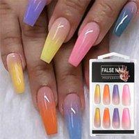 20pcs / Set Réutilisable Faux ongles Conseils à couverture Full Couvercle Rainbow Dégradé Bouts d'ongles avec designs Presse sur Ongles Art Fake Extension