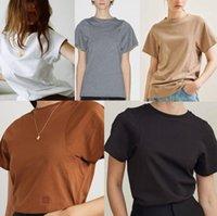 Tops femininos Streetstyle Blogger Mulheres Camisetas Designer cor sólida manga curta gola Verão Ladies Tees Casual