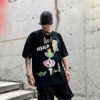 Хлопок животных Граффити Мужчины тенниска вскользь тенниска Mens Graphic Tee Shirt Печать Мода O Шея T-Шир Tshirt Человек