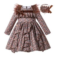 Pettigirl Brown Girl Winter Dress Feather Flower Girl Dresse...