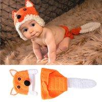 2Pcs / Set Newborn Fotografia Puntelli del Crochet del bambino Knit fumetto calotte appendiabiti Costumi Bambino Foto Abbigliamento bambino Accessori