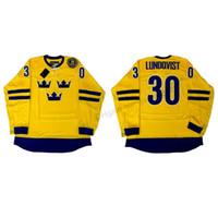 Custom 2014 Team Suecia Henrik Lundqvist # 30 Hockey Jerseys Hombres Todos Costados Amarillo Cualquier nombre Tamaño 2xs-2xl 3xl Jersey Shirts