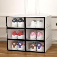 6 PCS شفافة قابلة للثني الحذاء صندوق الإبداعية طوي درج ملون مزيج مقاوم للأتربة أحذية متعددة الوظائف صناديق التخزين