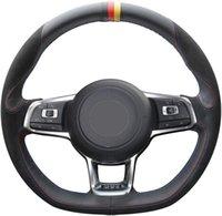 Cuero auto DIY Suede Negro de portada volante para 2015 -2018 Volkswagen Jetta GLI / 2015-2017 Golf R / 2015-2018 Golf GTI 7 MK7