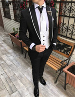 High Quality Groomsmen Peak Lapel Groom Tuxedos Black Men Su...