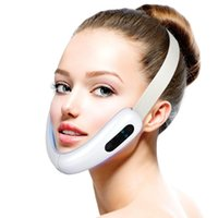 V 라인 업 리프트 벨트 기계 레드 블루 LED 광자 치료 얼굴 진동 마사지 얼굴 리프팅 장치 V-페이스 케어