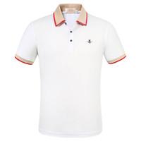 Lüks Moda Klasik erkek Mektubu Arı Çizgili Nakış Gömlek Pamuk Erkek Tasarımcı T-Shirt Beyaz Siyah Tasarımcı Polo Gömlek Erkek M-3XL