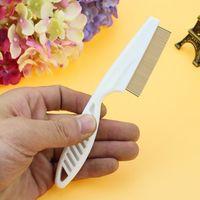 Chien Animaux chat cheveux Flea Lice Nit peigne Safe Flea Eggs Dirt DEPOUSSIERANT Toilettage en acier inoxydable dents Brushs