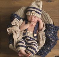 2pcs / set navyblue beige a strisce bambino cappelli bambino all'uncinetto outfits neonato ragazzi fotografia puntelli costume handmade cappello a maglia a mano + breve foto