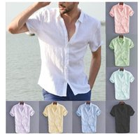 Men's Casual Shirts European And American Men Solid Linen Short Sleeve Shirt Summer Multi - Color Choice