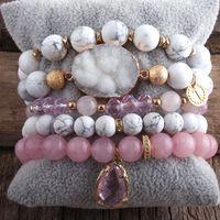 MD New Designer Boho Perlenarmband Set Naturstein Druzy 5pc Armband-Armbänder Set For Fashion Jewelry