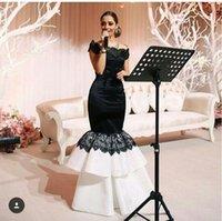 Мириам Фарес Mermaid белый и черный Вечерние платья Cap рукава Бато шеи шнурка Аппликация до пола Длина формальной одежды vestidos платье вечера
