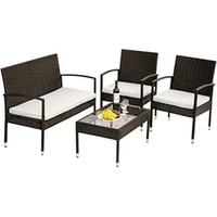 US Style 4 Piece Sofa Garden Sets Seating Group with Cushions Outdoor ratten set Fast Shipping New WF190609AAA