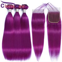 الملونة الأرجواني الشعر البشري حزم مع الدانتيل إغلاق الحرير مستقيم البرازيلي العذراء الشعر ينسج إغلاق رخيصة 4x4 أعلى إغلاق والملحقات