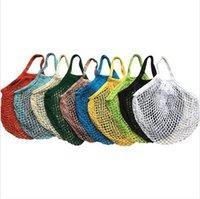Net Alışveriş Çantası Dize Çanta Büyük Beden Yeniden kullanılabilir Meyve Depolama Çanta Katlanabilir Portatif Bakkal Bez Örgü Çanta 500pcs LJJP451-2 Mesh