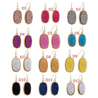Resin Hexagon Druzy Drusy Earrings Designer Oval Fashion Dan...
