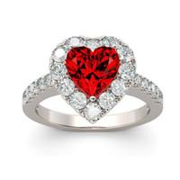 Maat 6-10 Prachtige Deluxe Sieraden 925 Sterling Zilver Hartvorm Ruby CZ Diamond edelstenen Geboortestones Party Dames Bruiloft Bruids Ring Gift