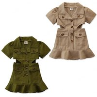 Kinder Kleidung Mädchen Solide Kurzarm Revers Taille Aushöhlen Kleid Kinder Rüschen Prinzessin Kleider Sommer Mode Baby Kleidung