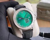2020 고품질 40mmX10mm 남성의 시계 316L의 미세 스틸 8219 달의 위상 이동 사파이어 유리 거울 전체 드릴 케이스 시계