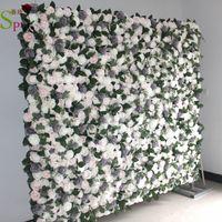 SPR 10pcs lot artificial rose flower wall panels wedding backdrop artificial flower table runner centerpiece decorativ floral