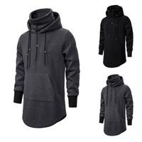 Tops para hombre con capucha casual nueva camiseta de manga larga de los hombres de los hombres del color sólido de la aptitud hoodies flojos Streetwear