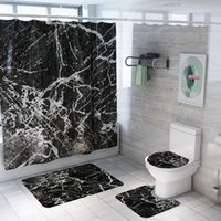 New marble Printed Pattern Bathroom Shower Curtain Pedestal ...