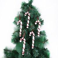 5pcs Bag Ano Novo / 2021 Árvore de Natal de suspensão do bastão de doces Muleta Ornamentos Xmas Tree Decor Natal Decoração Para Casa