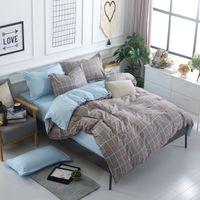 Lino de lino de lino de lino Color Planeado 4pc Conjunto de ropa de cama Set Hoja de cama + Cubierta de edredón + Funda de almohada Housse de Coúette Queen / King Siz