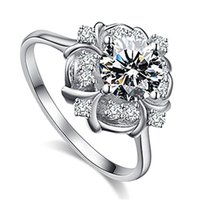 Taç Çiçek Kristal Rhinestone Kadın Taşlı Nişan Alyans Yüzük Promise Simüle Elmas nişan yüzüğü yüzükler