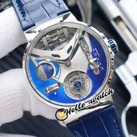 Mejor versión Nuevo Mega Yacht 44mm 6319-305 Esmalte 3D Dial azul automático Tourbillon Mens Reloj de acero Caja de acero Relojes de cuero azul Hello_Watch.