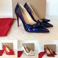 اساليب جديدة شحن مجاني لذا كيت 8CM 10CM 12CM الكعوب العالية أحذية الأحمر أسفل اللون عاري اصلي جلد بوينت تو مضخات أحذية الزفاف المطاط