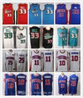 Jerseys de baloncesto para hombre Grant 33 Hill Vintage Isiah 11 Thomas Retro Dennis 10 Rodman College NCAA STEPEED Jersey