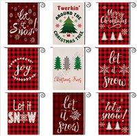 2020 년 크리스마스 정원 깃발 더블 사이드 붉은 격자 무늬 편지 디자이너 축제 마당을 장식 47 * 32cm D92507 배너 플래그 매달려 인쇄
