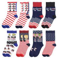 Trump algodón calcetines de rayas Estrellas de Fútbol de Sockings unisex Donald Trump Carta del Presidente printted Calcetines para el partido Mujer Hombre regalo libre de DHL