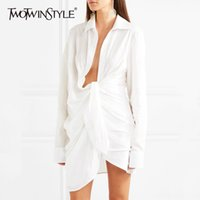TWOTWINSTYLE Ruched Shirt Women Lace Up Long Sleeve Irregular White Blouse Large Size Spring Female Sexy Fashion Clothing 200928