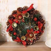 Decoración de la puerta Corona de Navidad hecha a mano de ratán colgante Garland centro comercial árbol de Navidad Corona de Adviento Dropshipping
