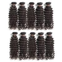 Paquetes mayor profundo de Malasia Remy de la Virgen del pelo humano de la onda 1Kg 10Pieces Lote color natural de la cutícula del cabello Alineados partir de un donante