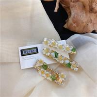 Mengjiqiao Vente chaude Verte Verte Hairgrips Bijoux à la main Elegant Perle Fleur Coupes à cheveux pour femmes Gilrs Accessoires de mariage