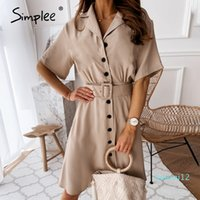 Hot Sale Simplee Elegant Button Blazer Dress Women Solid Casual High Waist Belt Short Sleeve Dress Office Ladies Workwear 2020 vestidos